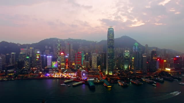 hong kong by drone - victoria peak stock videos & royalty-free footage