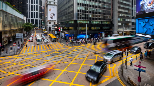 hong kong central cross road - central district hong kong stock videos & royalty-free footage