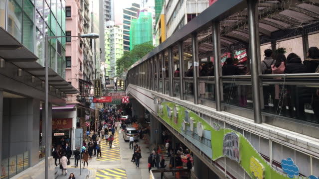 hong kong central escalator city life pedestrian commuter - central district hong kong stock videos and b-roll footage