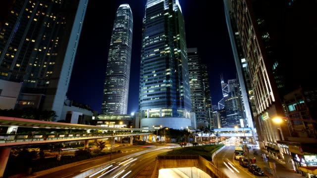 hong kong, central ifc international finance center and the scenery of the road at night - traffic time lapse stock videos & royalty-free footage