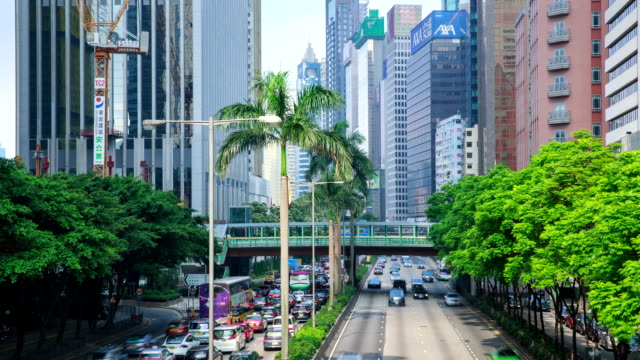 hong kong, central plaza road and overpass building at daytime landscape - central plaza hong kong stock videos & royalty-free footage