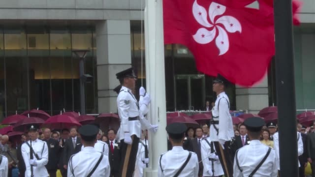 hong kong chief executive carrie lam attends a flag raising ceremony marking national day - hong kong flag stock videos & royalty-free footage