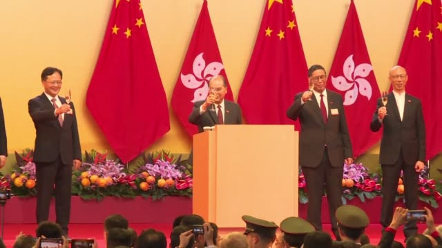 stockvideo's en b-roll-footage met hong kong chief secretary for administration matthew cheung kin chung attends a national day reception as china celebrates 70 years of communist rule... - hong kong