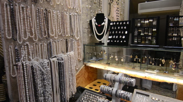 Hong Kong China Stanley Market famous shopping center for tourists with pearl jewelry for sale