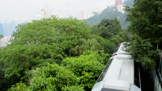 hong kong china victoria peak tram going down mountain on smoggy hazy foggy day with no visibility - victoria peak stock videos & royalty-free footage