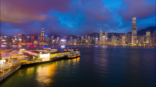 hong kong city ferries and skyline in timelapse - 2013 stock videos & royalty-free footage