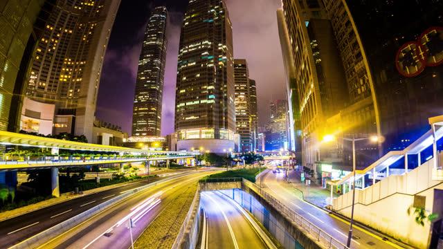hong kong city im zeitraffer - central bezirk hongkong stock-videos und b-roll-filmmaterial