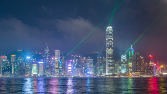 Hong Kong city laser show.time lapse panning left.