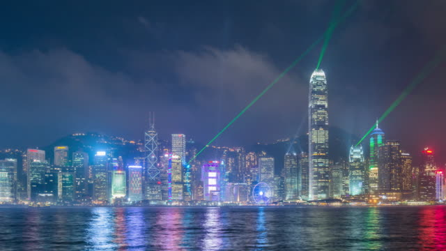 Hong Kong Stadt Laser show.time Ablauf rechts schwenken.