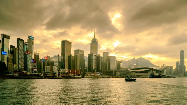 hong kong city side view island - hong kong island stock videos & royalty-free footage