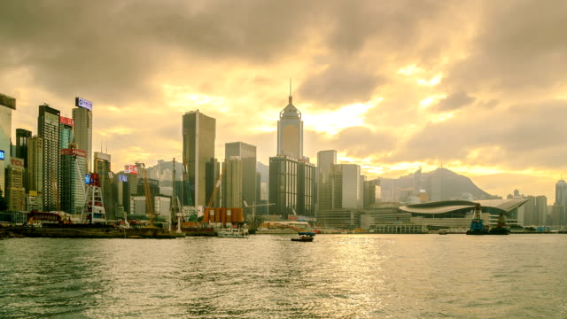 hong kong city side view island zoom in - wanchai stock videos and b-roll footage
