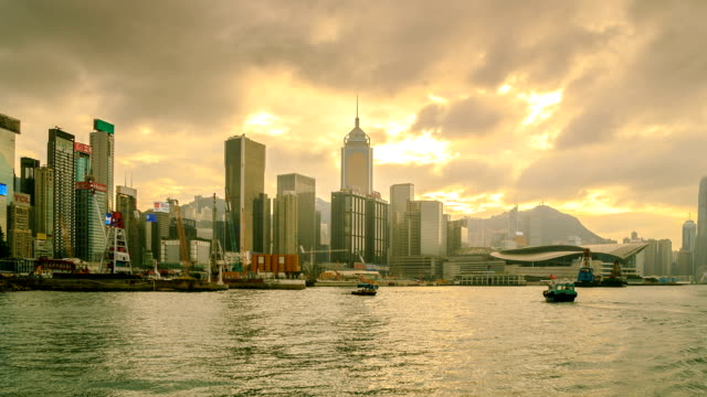 hong kong city side view island zoom out - wanchai stock videos and b-roll footage