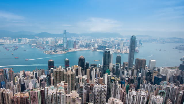 zo: tl hong kong city skyline day time view from victoria peak. - wide stock videos and b-roll footage