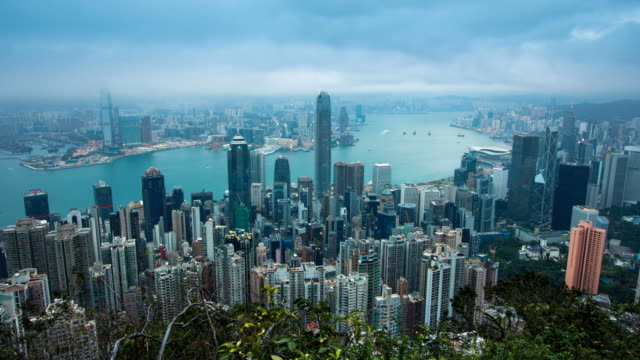 zo tl n2d hong kong city skyline day time view from victoria peak. - victoria hong kong stock videos & royalty-free footage
