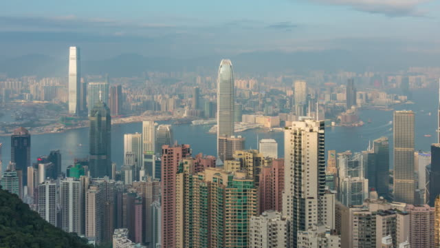 Hong Kong city skyline time lapse with Victoria Harbor view
