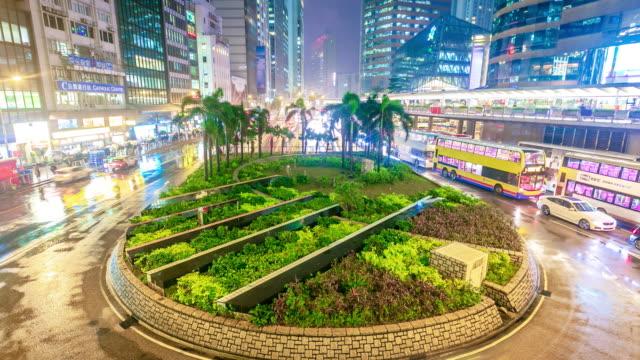 Hong Kong city traffic circle on urban road at night Time lapse