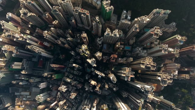 hong kong city - directly above stock videos & royalty-free footage