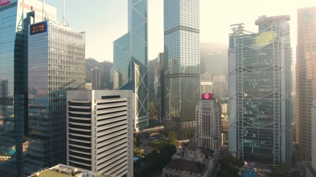 hong kong city - edificio adibito a uffici video stock e b–roll