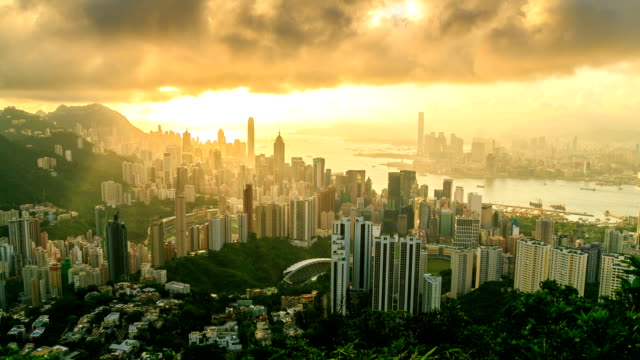 Hong Kong City With Golden Sunbeam
