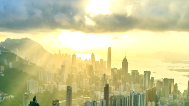 hong kong city with sunbeam - victoria peak stock videos & royalty-free footage