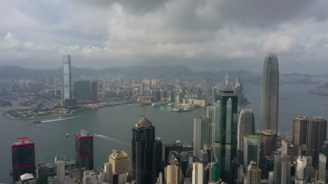 hong kong cityscape aerial view in real time - victoria harbour hong kong stock videos & royalty-free footage