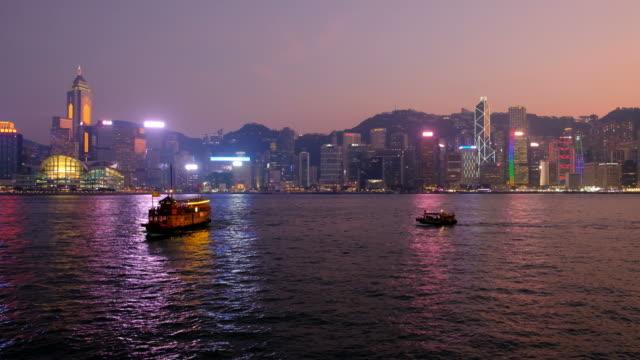 hong kong cityscape at night - junk ship stock videos & royalty-free footage