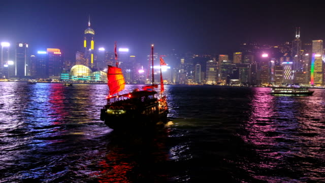 hong kong cityscape at night - victoria harbour hong kong stock videos & royalty-free footage