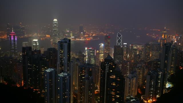 vídeos de stock, filmes e b-roll de hong kong cityscape at night - ilha de hong kong