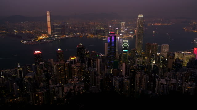hong kong cityscape at twilight - the center stock videos and b-roll footage