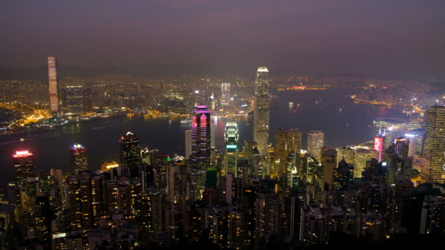 hong kong cityscape at twilight - the center stock videos & royalty-free footage