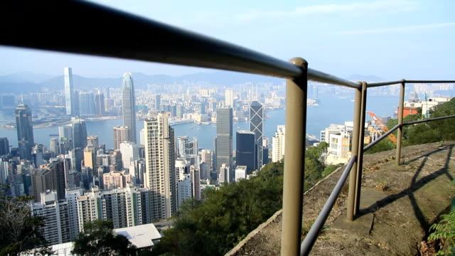 香港の街並みパンニング - ビクトリアピーク点の映像素材/bロール