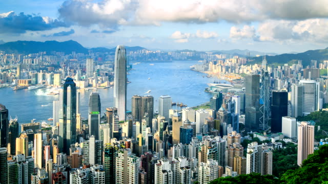 hong kong cityscape - victoria harbour hong kong stock videos & royalty-free footage