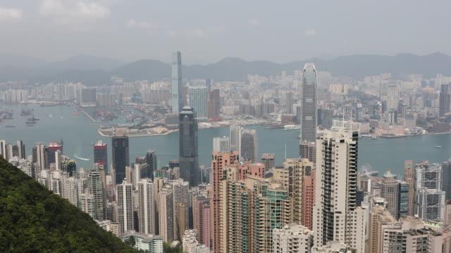 hong kong cityscape,china - berg victoria peak stock-videos und b-roll-filmmaterial