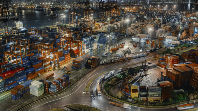 hong kong container port - cargo ship stock videos & royalty-free footage