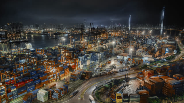 hong kong container port - global communications stock videos & royalty-free footage