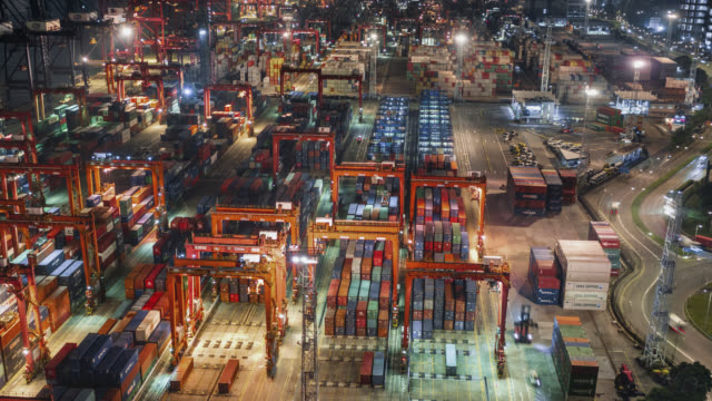 hong kong container port - global communications video stock e b–roll