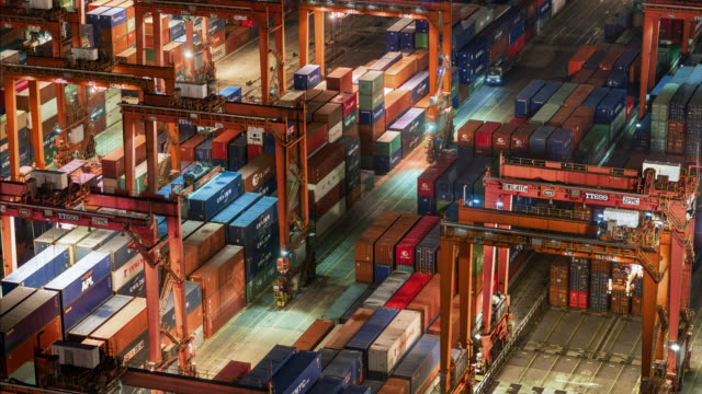 hong kong container port - cargo container stock videos & royalty-free footage