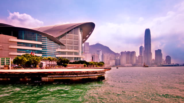 hong kong convention and exhibition centre - hong kong island stock videos & royalty-free footage