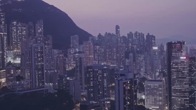 stockvideo's en b-roll-footage met hong kong downtown skyscrapers and buildings cityscape at night. aerial drone view - hong kong