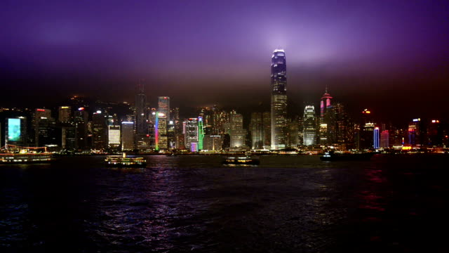 hong kong financial district at twilight, view from victoria harbour - hong kong island stock videos & royalty-free footage