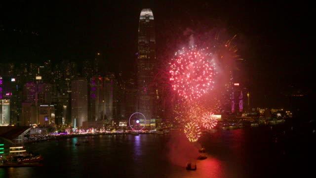 vidéos et rushes de hong kong fireworks - hong kong