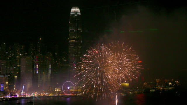 hong kong fireworks - victoria harbour hong kong stock videos and b-roll footage