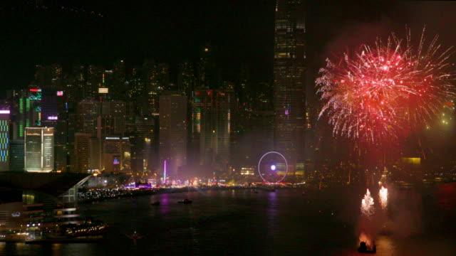 hong kong fireworks - pontoon bridge stock videos and b-roll footage