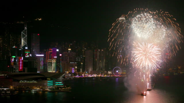 hong kong fireworks - central plaza hong kong stock videos & royalty-free footage