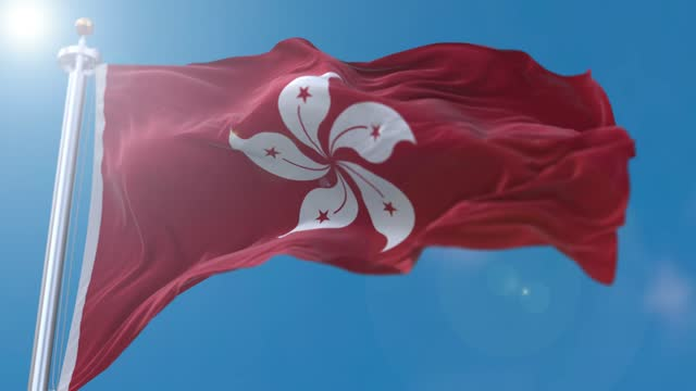 hong kong flag flowing in the wind - hong kong flag stock videos & royalty-free footage