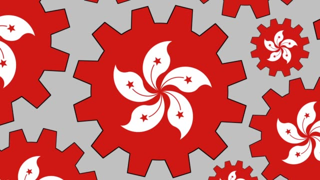 hong kong flag gears spinning background zooming out - hong kong flag stock videos & royalty-free footage