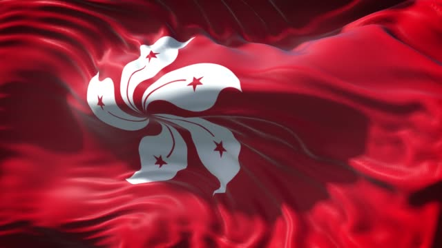 hong kong flag is waving slowly in full screen 4k resolution - hong kong flag stock videos & royalty-free footage