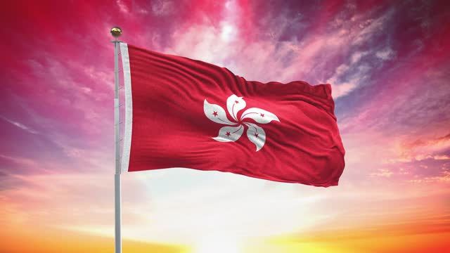 hong kong flag, loopable, included green screen chroma key version, waving in wind slow motion animation, 4k realistic fabric texture, continuous seamless loop background - hong kong flag stock videos & royalty-free footage