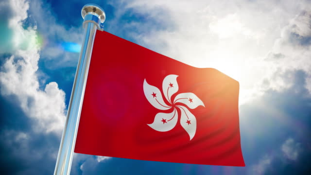 4k - hong kong flag | loopable stock video - hong kong flag stock videos & royalty-free footage