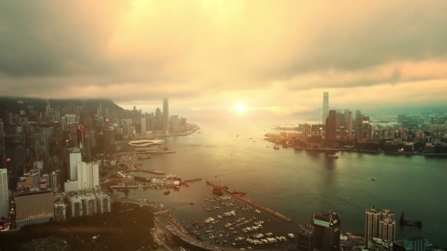 hong kong from above - twilight stock videos & royalty-free footage